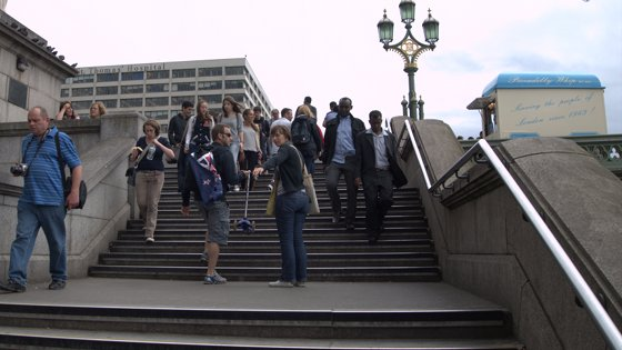 Steps at the end of Westminster Bridge