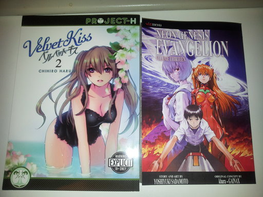 Velvet Kiss volume two and Evangelion volume 13