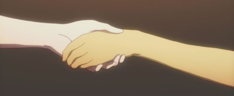 Hitagi's and Araragi's hands