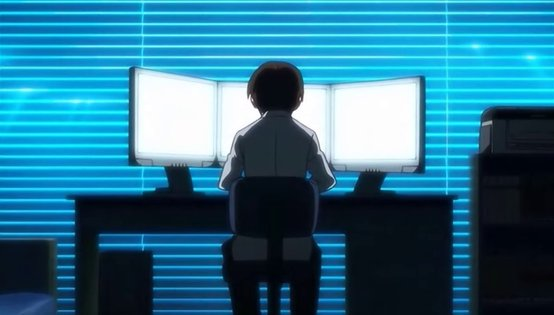 Yanagi's triple-monitor workstation